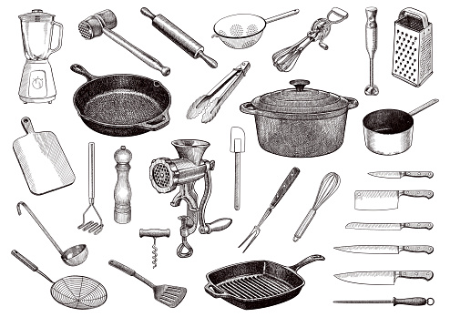 Set of vector drawings of kitchen tools