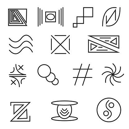 Set of vector drawings, signs, symbols.