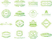 Set of vector eco elements. Go green, organic, healthy food, eco, bio. Logo template. Ecological and nature