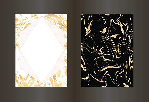 Set of vector elegant black and gold invitation card, background.