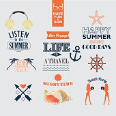 set of vector  elements for summer holidays