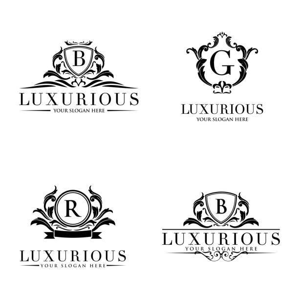 set von vektorelementen im stil des luxus gedeihen. luxus-logo-vorlage in vektor für restaurant, royalty, boutique, cafe, hotel, heraldic, schmuck, mode und andere vektordarationen - wappen stock-grafiken, -clipart, -cartoons und -symbole