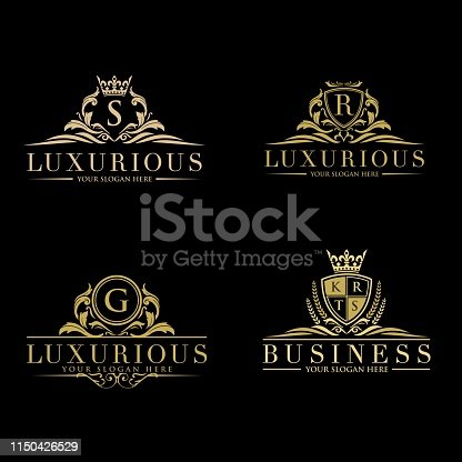 istock Set of vector elements in style of luxury flourish. Luxury Logo template in vector for Restaurant, Royalty, Boutique, Cafe, Hotel, Heraldic, Jewelry, Fashion and other vector illustration 1150426529