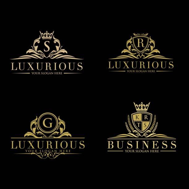 zestaw elementów wektorowych w stylu luksusu rozkwita. szablon luksusowe logo w wektorze dla restauracji, rodziny królewskiej, butiku, kawiarni, hotelu, heraldyki, biżuterii, mody i innych ilustracji wektorowych - insygnia stock illustrations