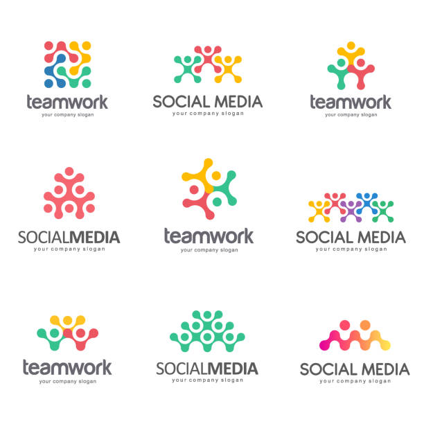 Set of vector emblem design for social media, teamwork, alliance vector art illustration