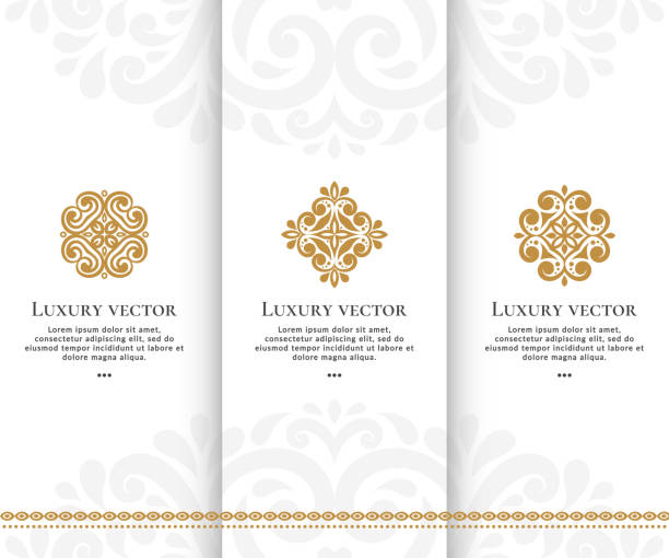 bildbanksillustrationer, clip art samt tecknat material och ikoner med uppsättning vektor emblem. eleganta, klassiska element. kan användas för smycken, skönhet och mode industrin. perfekt för logo, monogram, inbjudan, flyer, meny, broschyr, bakgrunden eller någon önskad idé. - spa
