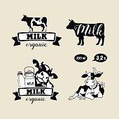 Set of vector emblems. Cow and milk.