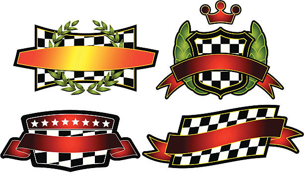 Set of Vector Emblems & Crest Set Number 54 of a continuing series. Each has room across front to drop in custom text.  indy racing league indycar series stock illustrations