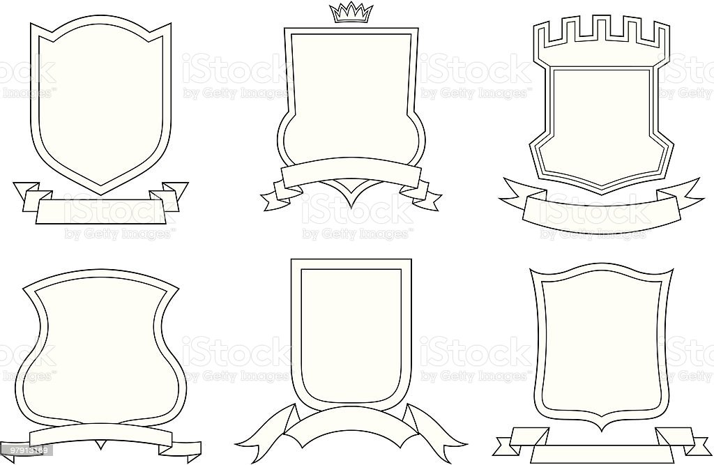 Set Of Vector Emblems Crests Shields And Scrolls Stock Vector Art