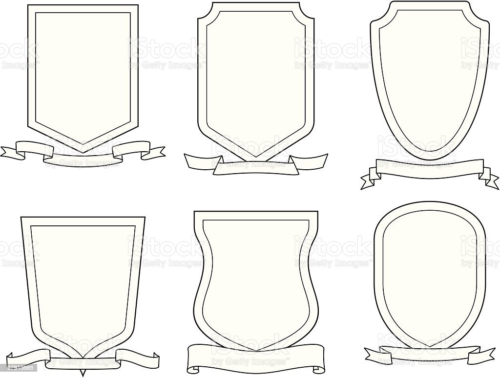 Set of vector emblems, crests, shields and scrolls royalty-free set of vector emblems crests shields and scrolls stock vector art & more images of certificate