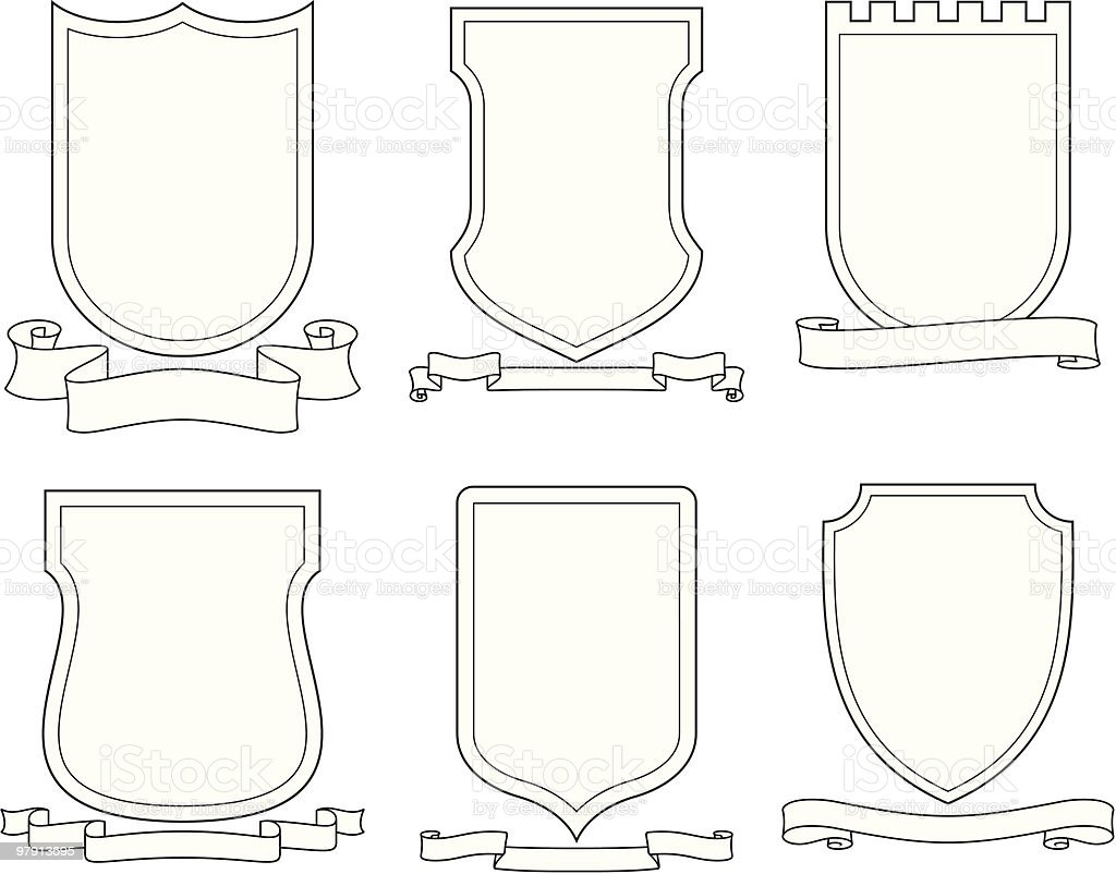 Set of vector emblems, crests, shields and scrolls royalty-free set of vector emblems crests shields and scrolls stock vector art & more images of clip art