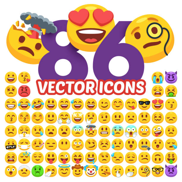 Ensemble d'émoticônes de vecteur. Pack de Emoji 86 dans un plat style dessin animé. Émotion icônes collection vector illustration isolé sur fond blanc. - Illustration vectorielle