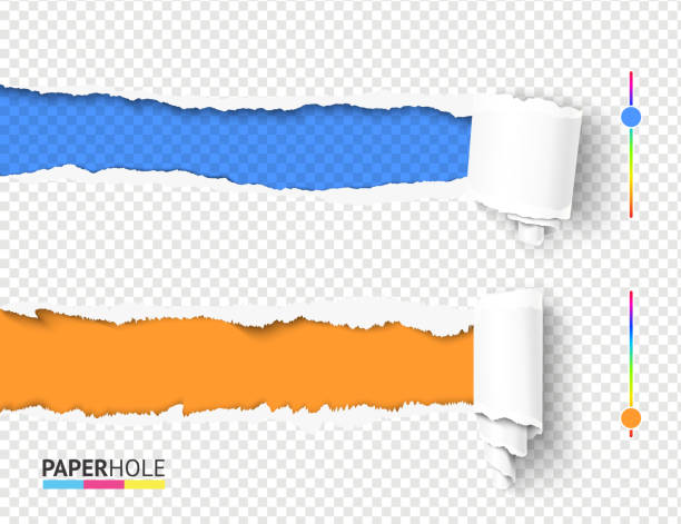 Set of vector empty torn paper pieces of scroll with rip hole edges on abstract transparent background as sale banner ad Set of vector empty curled into scroll torn paper pieces with rip hole edges and shadows on abstract transparent background for advertisement bright banner revealing sale promo message. undressing stock illustrations