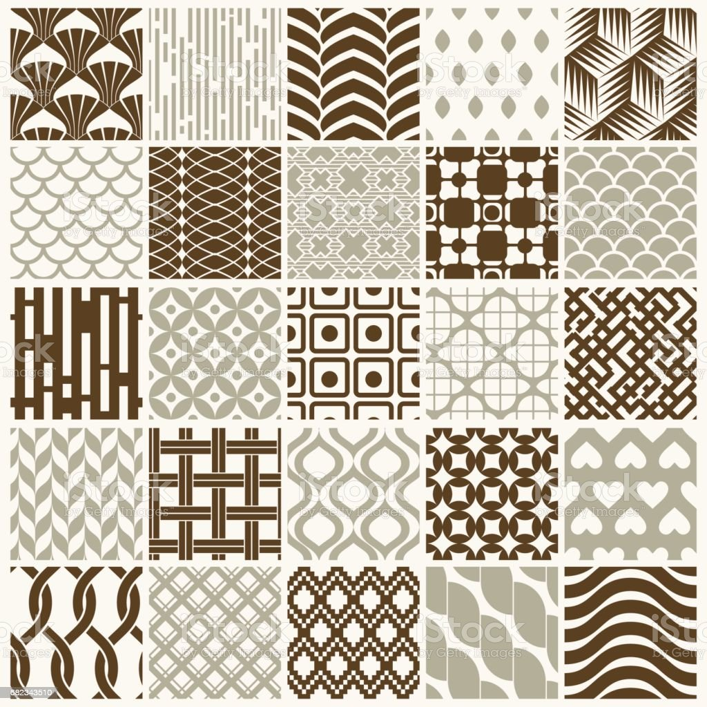 Set of vector endless geometric patterns composed with different figures like rhombuses, squares and circles. 25 graphic tiles with ornamental texture can be used in textile and design. set of vector endless geometric patterns composed with different figures like rhombuses squares and circles 25 graphic tiles with ornamental texture can be used in textile and design - immagini vettoriali stock e altre immagini di astratto royalty-free
