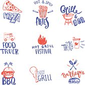 Set of Vector Fastfood hand drawn badges. can be used as icon or Icon for identity in rough style.