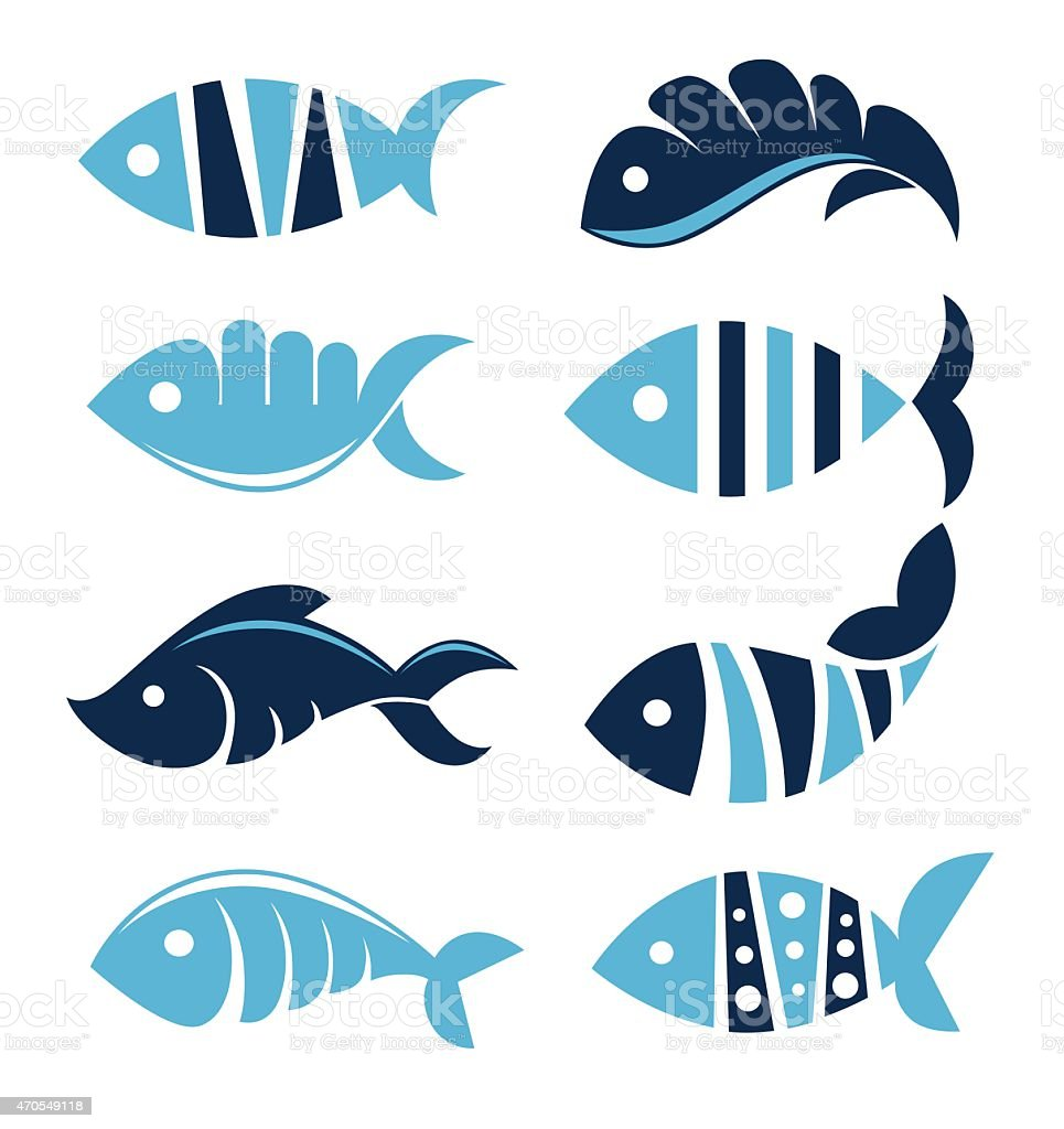 Set of vector fish icons, signs, symbols and emblems.. vector art illustration