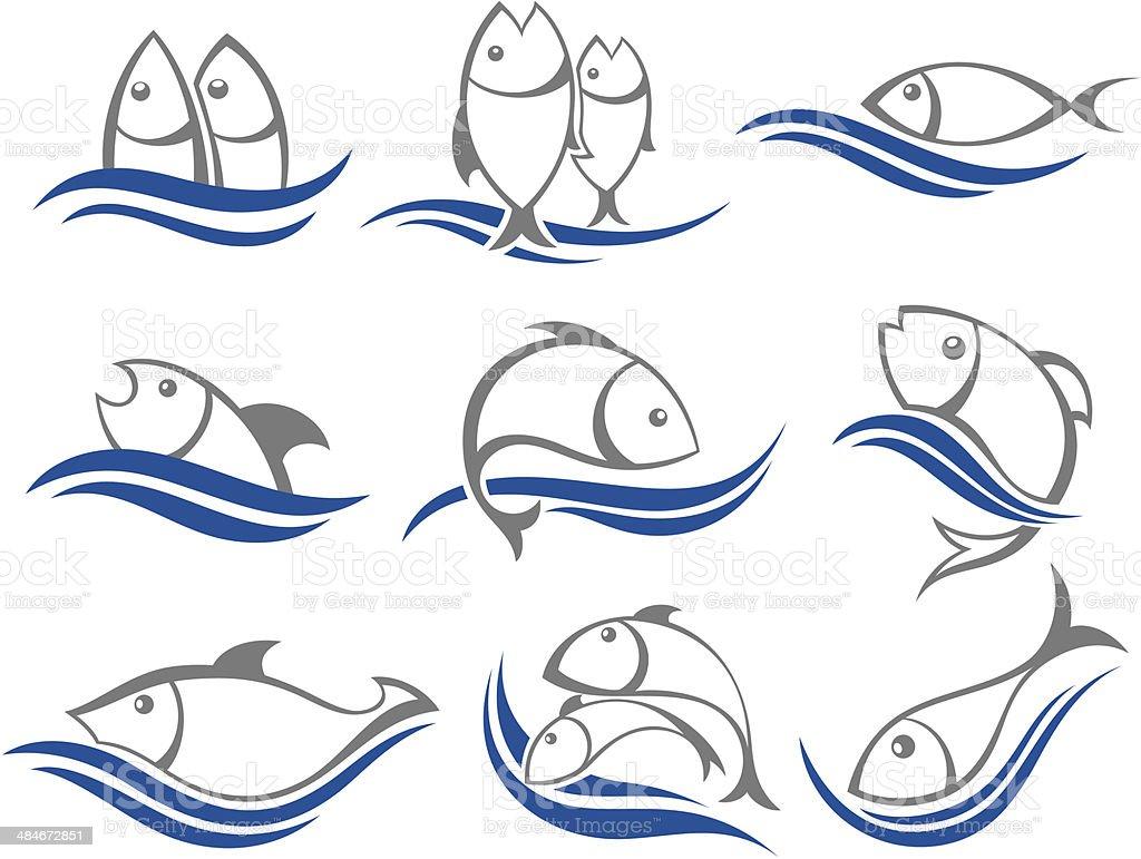 Set of vector fish icons vector art illustration