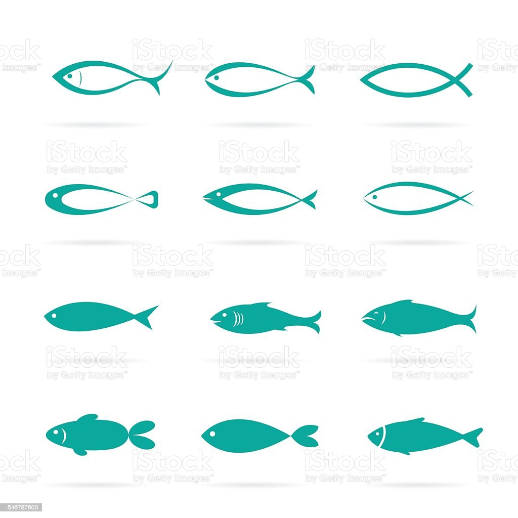 set of vector fish icons stock vector art more images of abstract