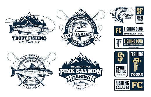 Set of vector fishing symbol, badges and design elements