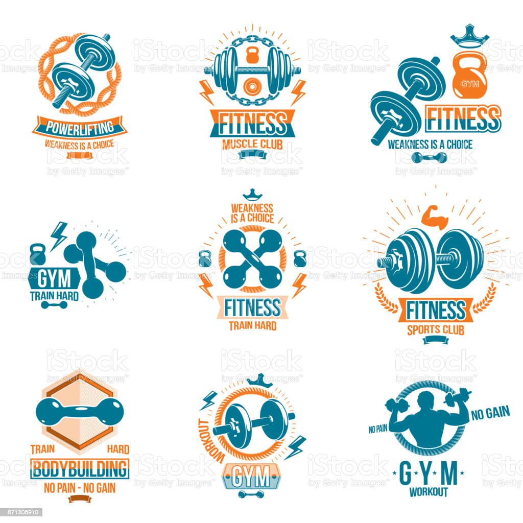 Set Of Vector Fitness Workout And Weightlifting Gym