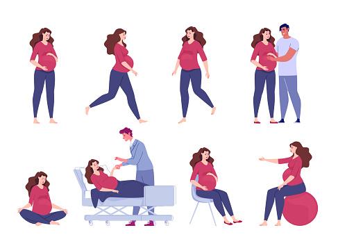 Set of vector flat cartoon illustrations of pregnant woman.