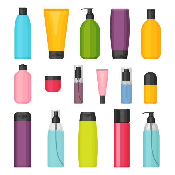 ベクトル カラフルなフラット化粧品ボトルのセット - 体 洗う点のイラスト素材/クリップアート素材/マンガ素材/アイコン素材