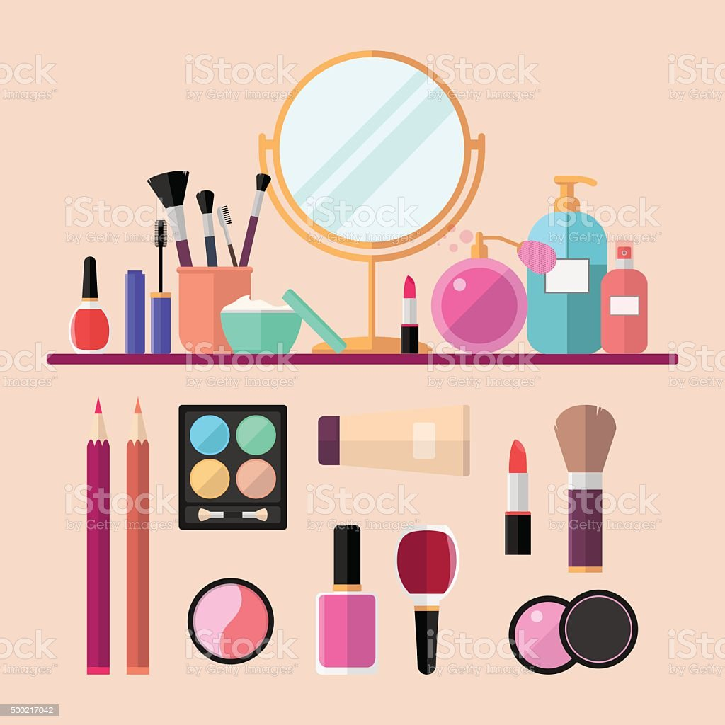 Set of vector flat cosmetics, make up icons vector art illustration