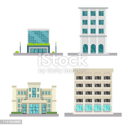 Set of vector flat design buildings.Company buildeing with isolated white background.Vector illustration.Modern buildings set.