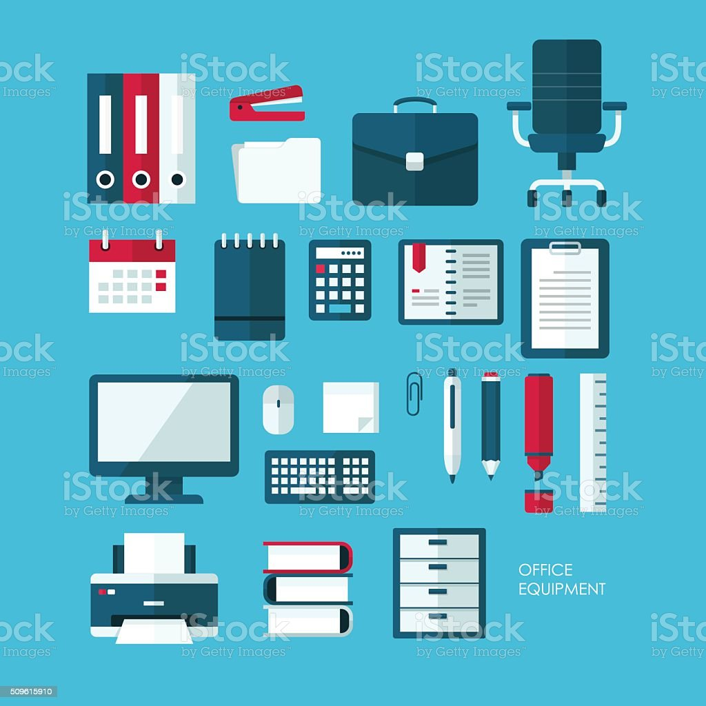 Set of vector flat design concept icons of office equipment vector art illustration