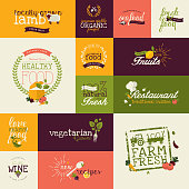 Set of vector flat design icons for food and drink
