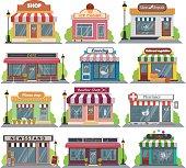 Set of vector flat design restaurants and shops facade icons.