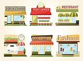 Set of vector flat design restaurants and shops facade icons.coffee shop,boutique,pizzeria,bookstore.
