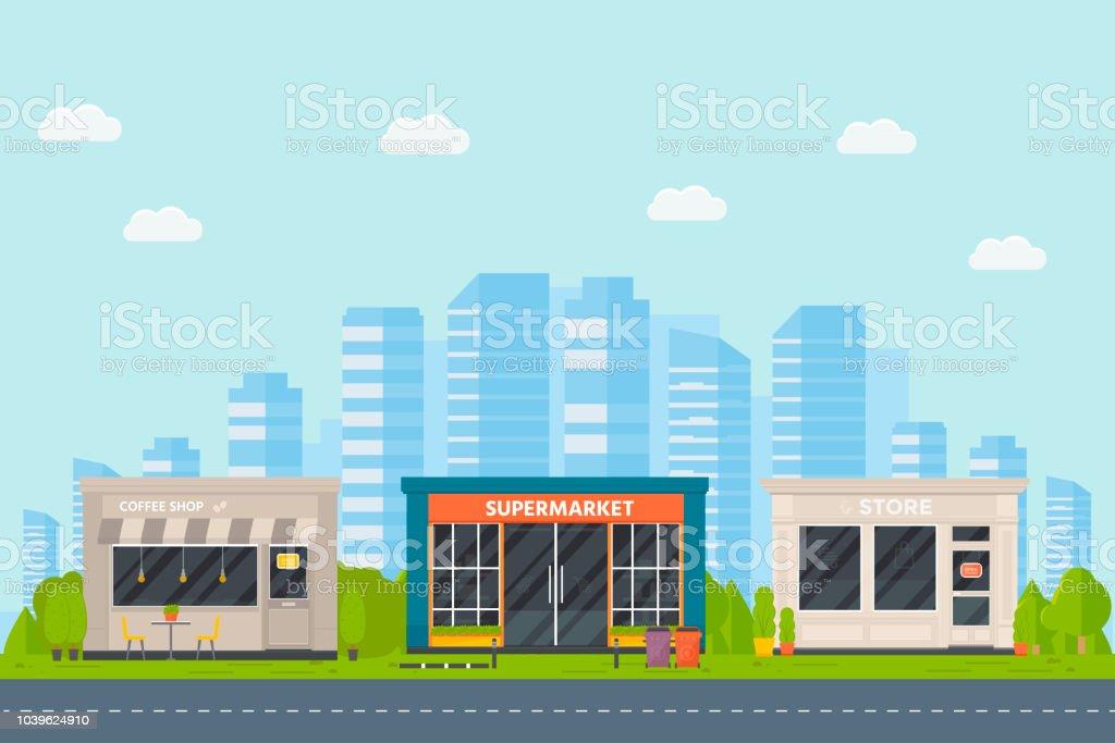 Set Of Vector Flat Design Restaurants Exterior And Shops Facade Coffee Shop Supermarket Stock Illustration Download Image Now Istock
