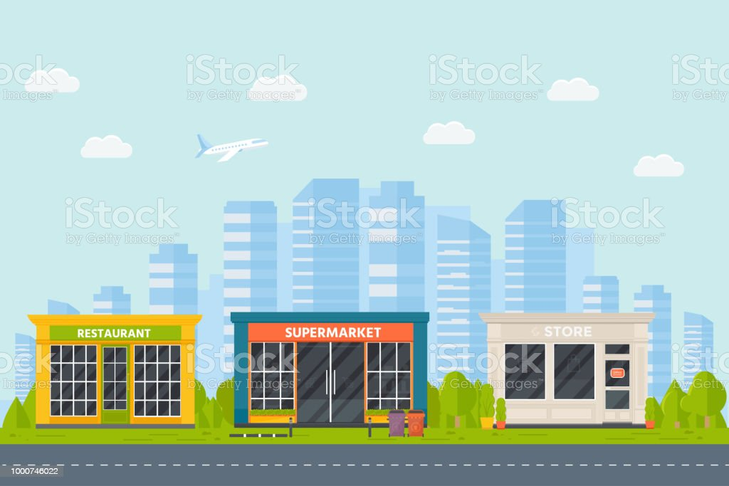 Set Of Vector Flat Design Restaurants Exterior And Shops Facade Stock Illustration Download Image Now Istock
