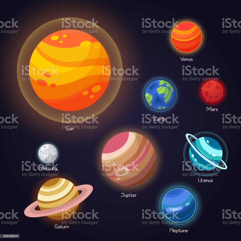 Set Of Vector Flat Doodle Cartoon Icons Planets Solar System Children Education Wallpaper
