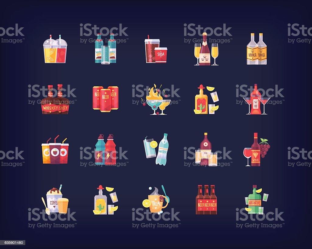 Set of vector flat drinks and beverages icons – Vektorgrafik