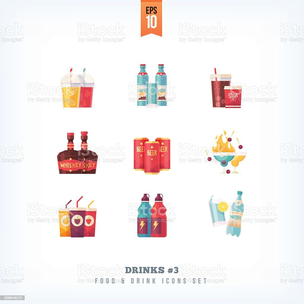 Set of vector flat drinks and beverages icons - ilustración de arte vectorial