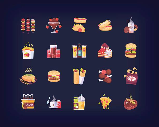 set of vector flat fast food icons - farbchips stock-grafiken, -clipart, -cartoons und -symbole