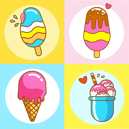 Set of vector flat ice cream icons in pastel colors with brown outline. Ice cream in a cone, in a bucket, and on a stick in a round frame. Summer sweets.