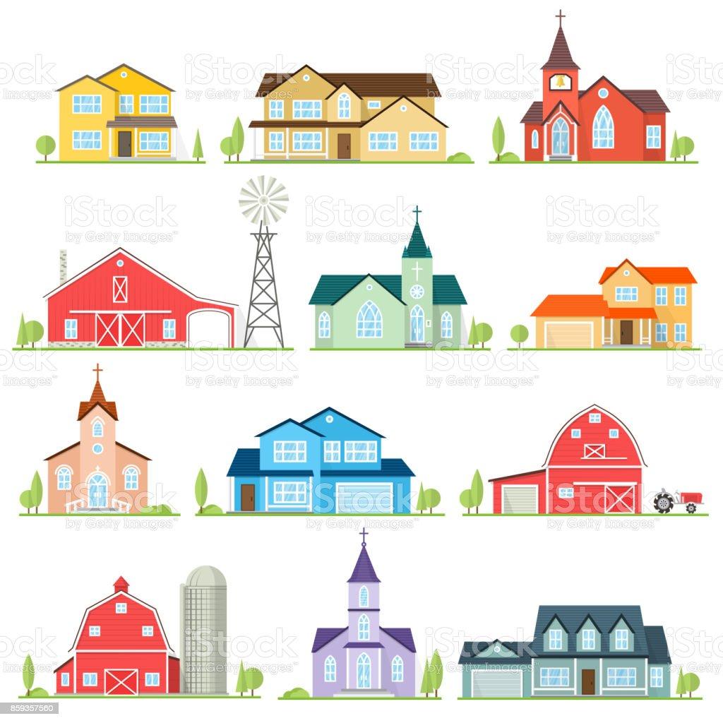 Set of vector flat icon suburban american houses vector art illustration