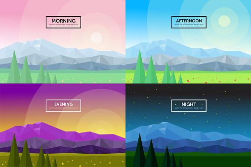 set of vector flat illustrations of temporal days: morning, day, evening, night, beautiful landscapes of triangular mountains, flowers, sky, stars, trees, nature  panorama