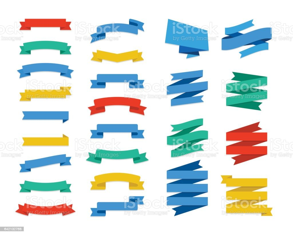 Set Of Vector Flat Ribbons and Banners vector art illustration