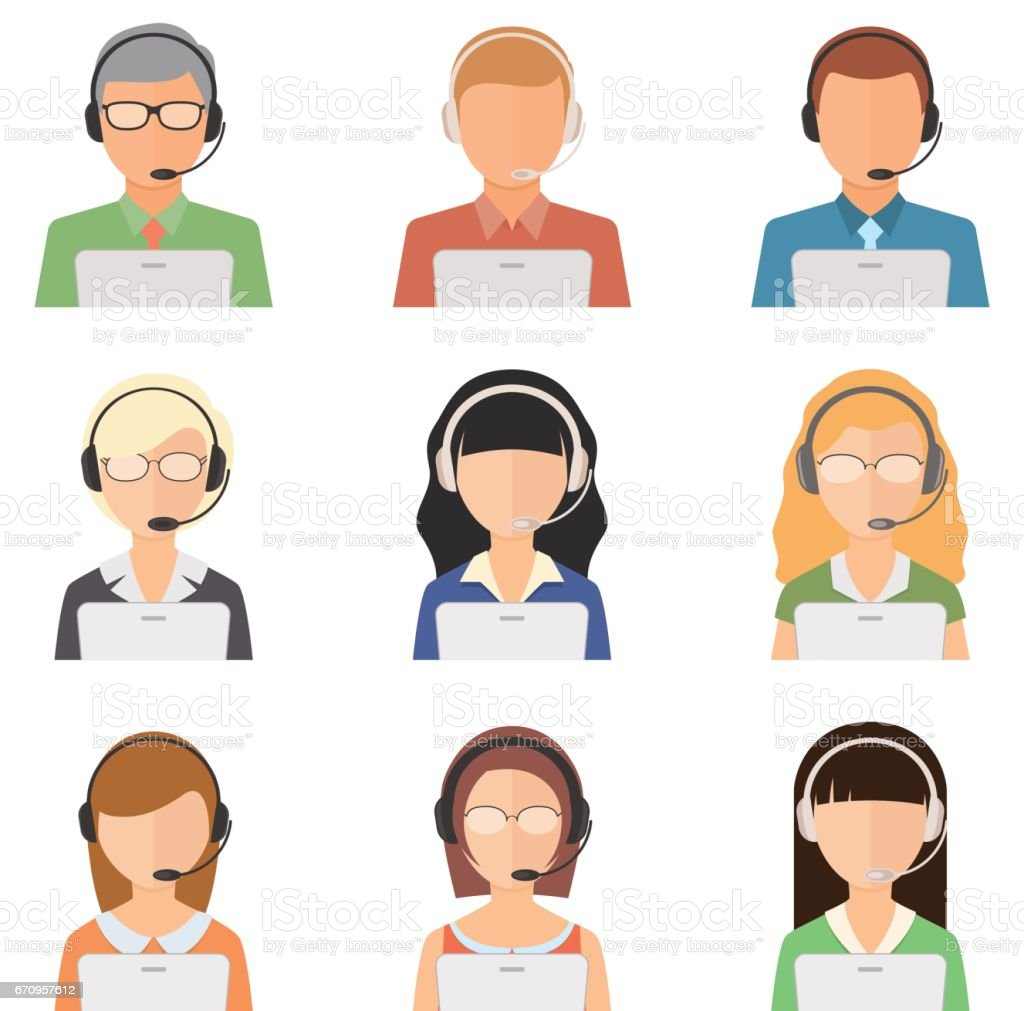Set of vector flat style male and female assistants characters. vector art illustration