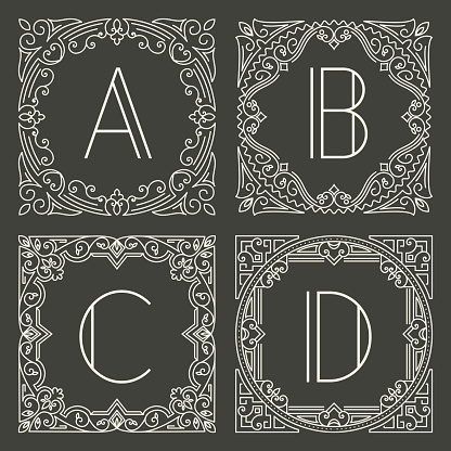 Set of vector floral and geometric monogram logos with capital letter on dark gray background. Monogram design element.