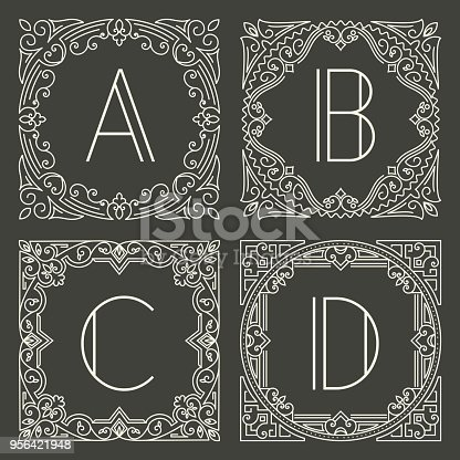 Set of vector floral and geometric monogram logos with capital letter on dark gray background. Monogram design element. Vintage styled initial decoration.