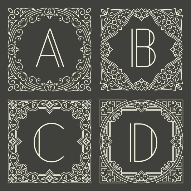 Set of vector floral and geometric monogram logos with capital letter on dark gray background. Monogram design element. Set of vector floral and geometric monogram logos with capital letter on dark gray background. Monogram design element. Vintage styled initial decoration. alphabet borders stock illustrations