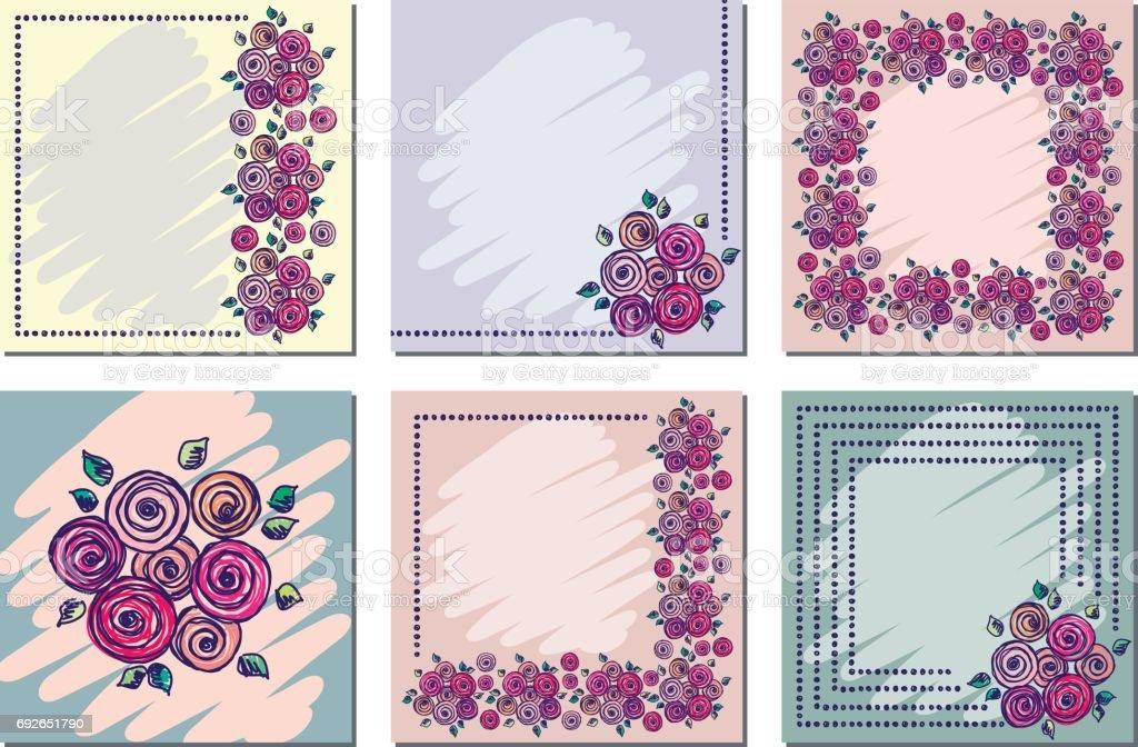 Set of vector floral frame card border greeting cards different set of vector floral frame card border greeting cards different template with m4hsunfo