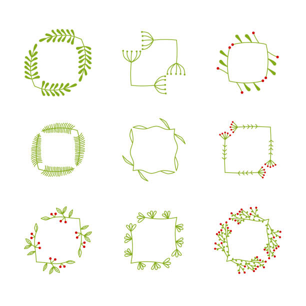 set of vector flower frames vector art illustration