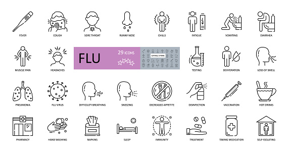 Set of vector flu icons with editable stroke. Symptoms, treatment and prevention of colds. Virus, fever, sneezing, runny nose, fatigue, headache, muscle pain, pneumonia, vomiting, cough, sore throat