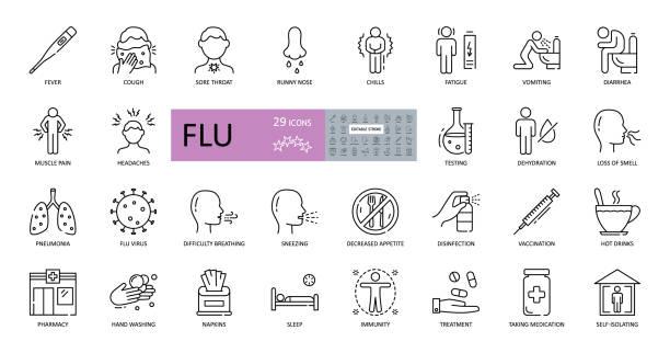 stockillustraties, clipart, cartoons en iconen met reeks vectorgrieppictogrammen met bewerkbare slag. symptomen, behandeling en preventie van verkoudheid. virus, koorts, niezen, loopneus, vermoeidheid, hoofdpijn, spierpijn, longontsteking, braken, hoesten, keelpijn - verlies